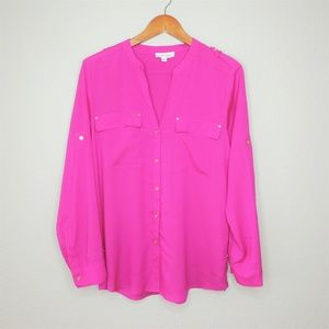 Calvin Klein Bright Long Sleeve Blouse M